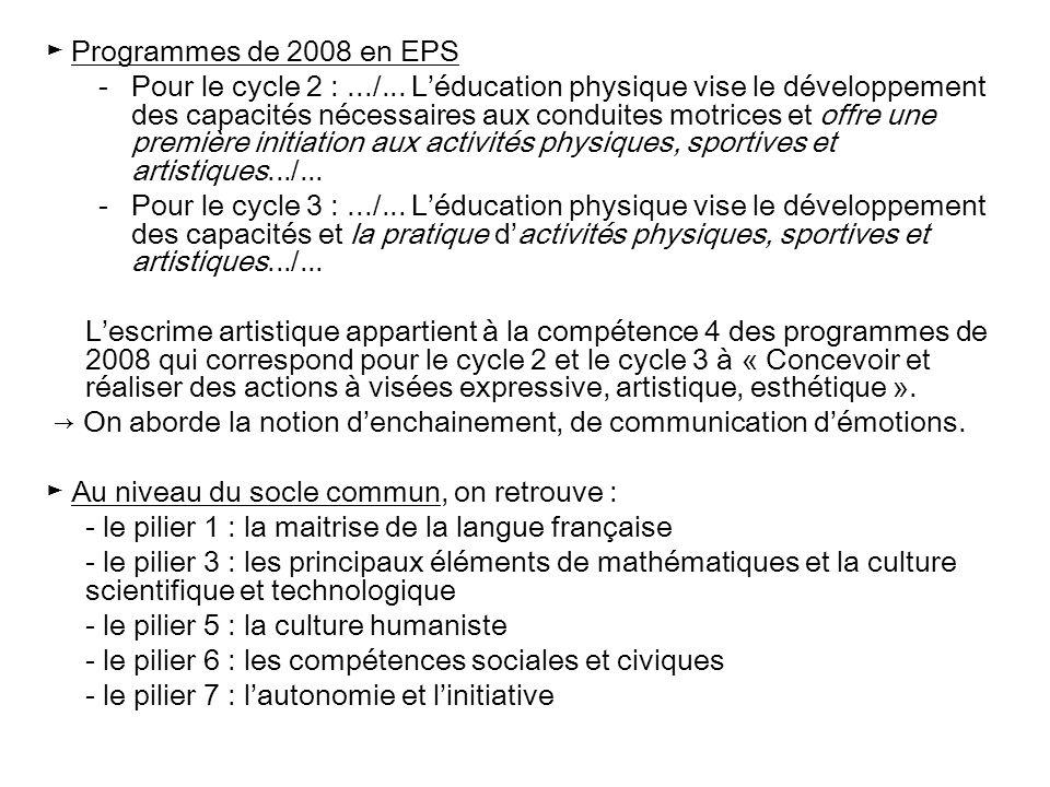► Programmes de 2008 en EPS -Pour le cycle 2 :.../... L'éducation physique vise le développement des capacités nécessaires aux conduites motrices et o