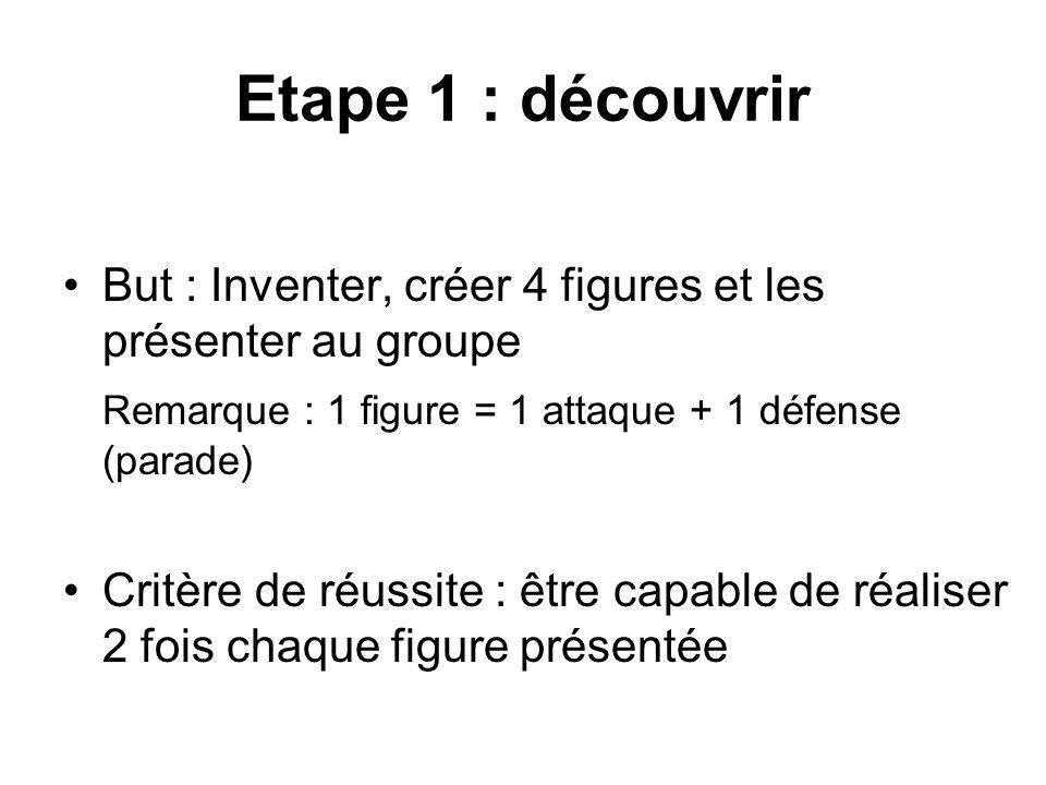 Etape 1 : découvrir But : Inventer, créer 4 figures et les présenter au groupe Remarque : 1 figure = 1 attaque + 1 défense (parade) Critère de réussit