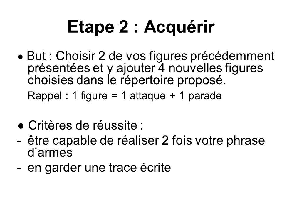 Etape 2 : Acquérir ● But : Choisir 2 de vos figures précédemment présentées et y ajouter 4 nouvelles figures choisies dans le répertoire proposé. Rapp