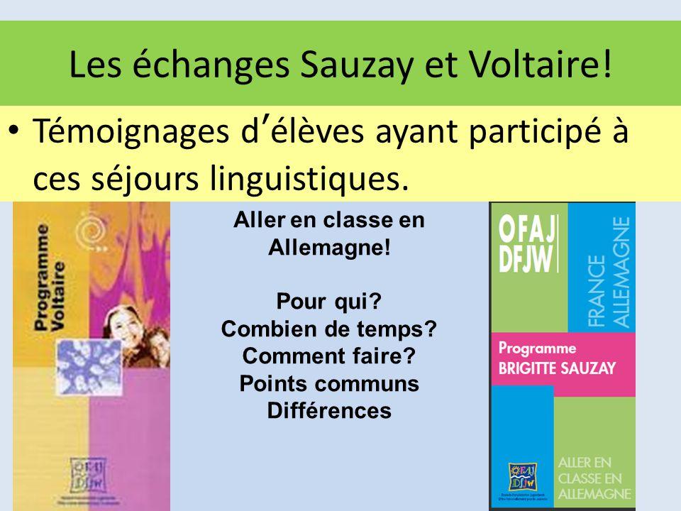 Les échanges Sauzay et Voltaire! Témoignages d'élèves ayant participé à ces séjours linguistiques. Aller en classe en Allemagne! Pour qui? Combien de