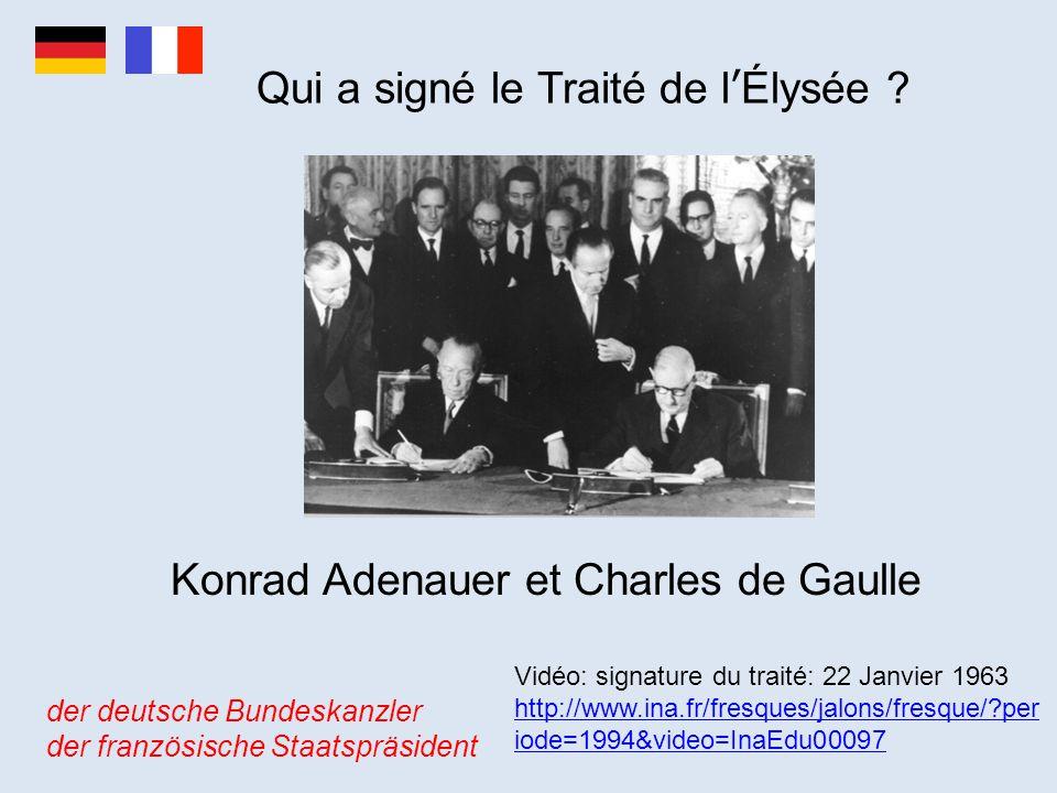 Qui a signé le Traité de l'Élysée ? Konrad Adenauer et Charles de Gaulle der deutsche Bundeskanzler der französische Staatspräsident Vidéo: signature