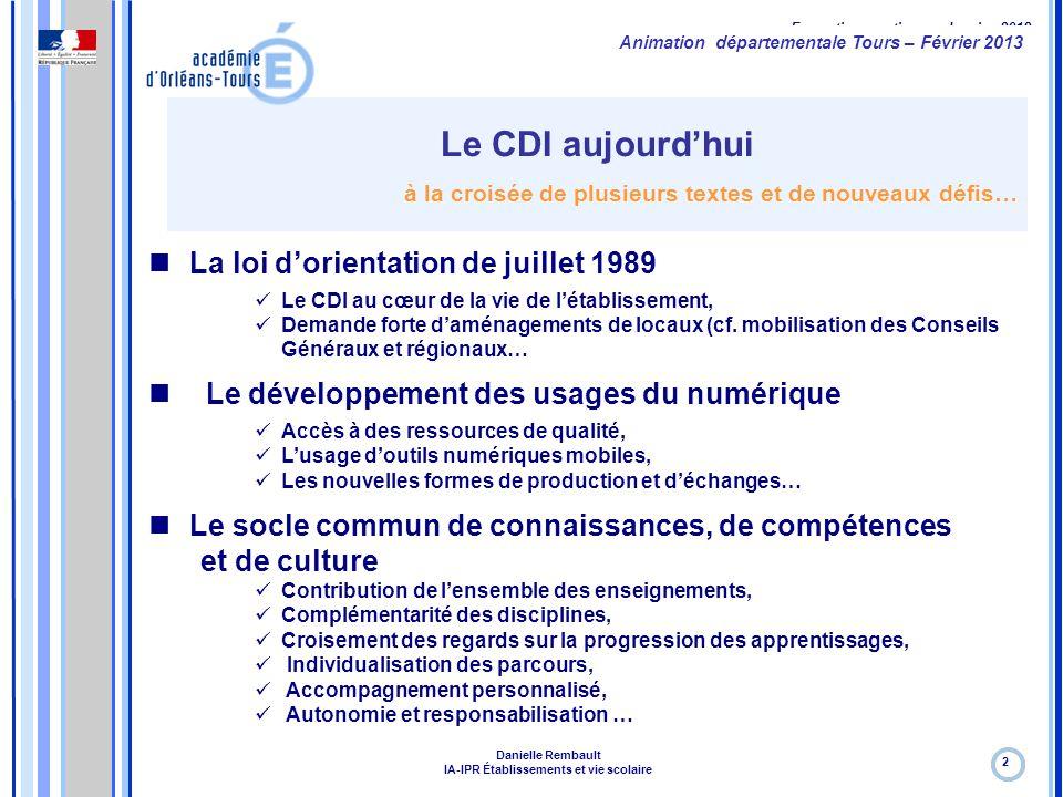 Formation continue – Janvier 2012 Le CDI aujourd'hui à la croisée de plusieurs textes et de nouveaux défis… 2 La loi d'orientation de juillet 1989 Le