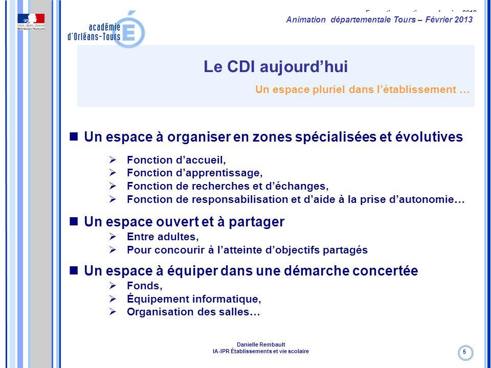 Formation continue – Janvier 2012 Le CDI aujourd'hui Un espace pluriel dans l'établissement … 5 Un espace à organiser en zones spécialisées et évoluti