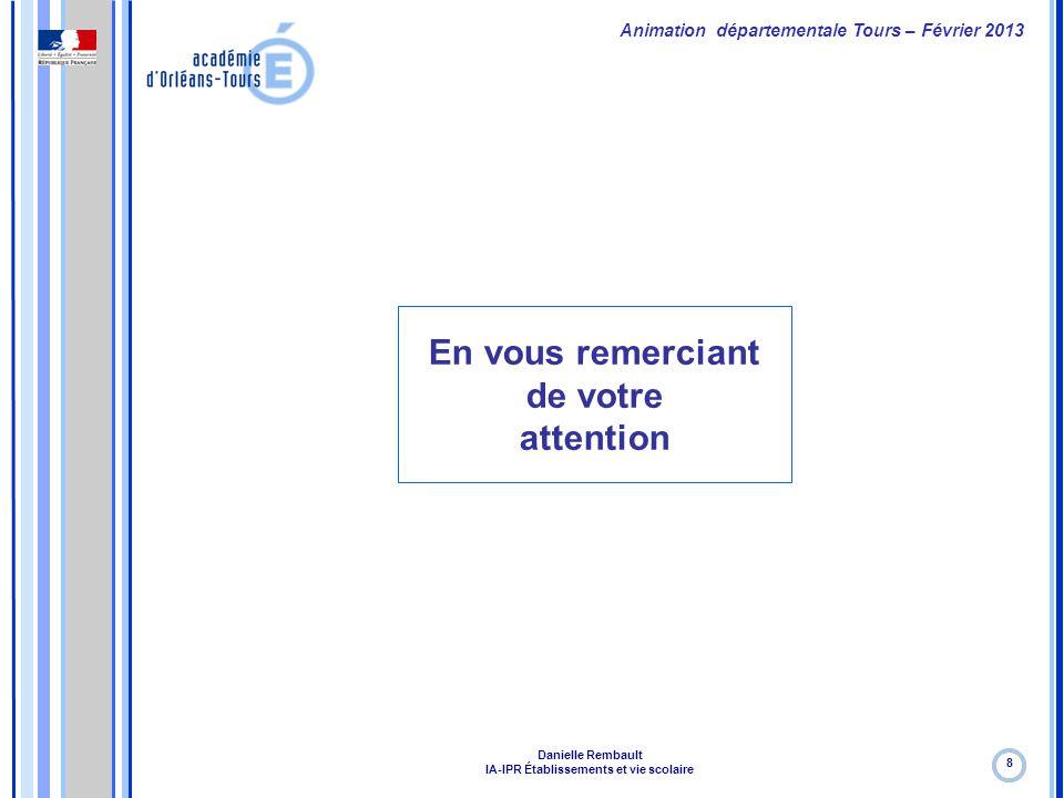 Formation continue – Janvier 2012 En vous remerciant de votre attention 8 Animation départementale Tours – Février 2013 Danielle Rembault IA-IPR Établ