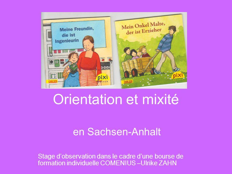 Orientation et mixité en Sachsen-Anhalt Stage d'observation dans le cadre d'une bourse de formation individuelle COMENIUS –Ulrike ZAHN