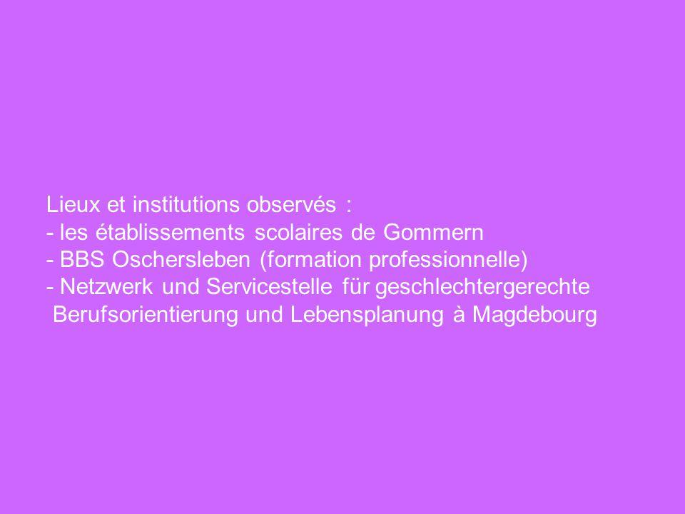 Lieux et institutions observés : - les établissements scolaires de Gommern - BBS Oschersleben (formation professionnelle) - Netzwerk und Servicestelle