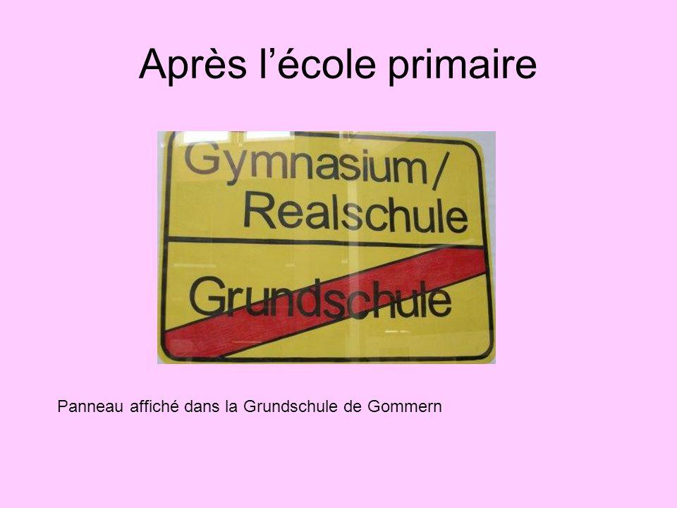 Après l'école primaire Panneau affiché dans la Grundschule de Gommern