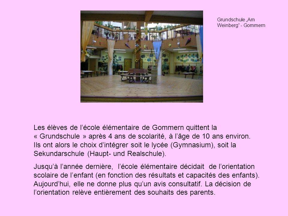 Les élèves de l'école élémentaire de Gommern quittent la « Grundschule » après 4 ans de scolarité, à l'âge de 10 ans environ. Ils ont alors le choix d