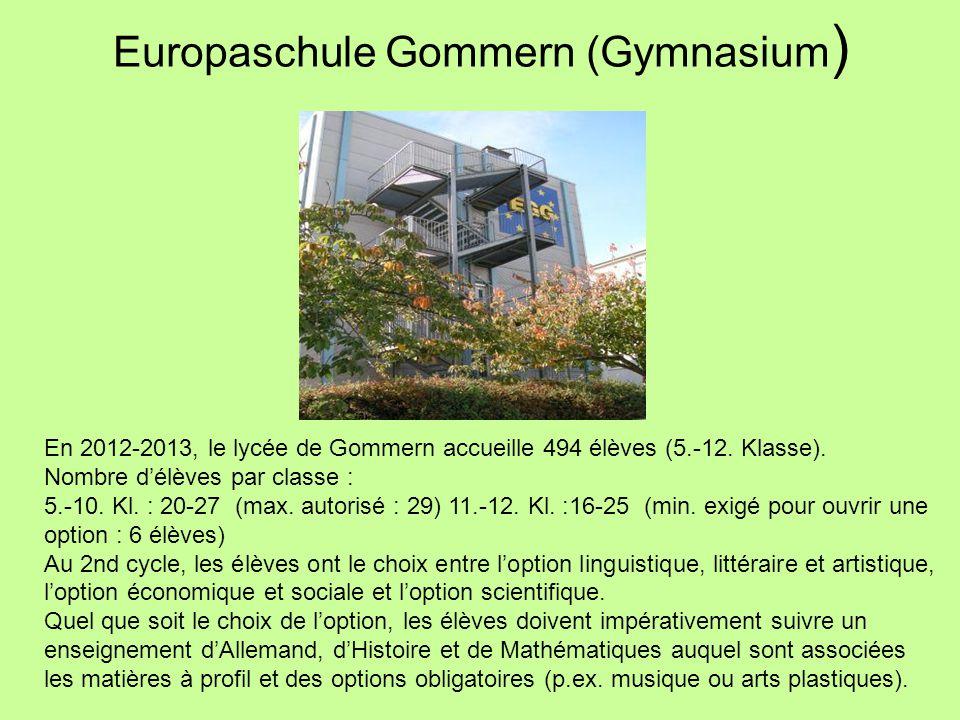 Europaschule Gommern (Gymnasium ) En 2012-2013, le lycée de Gommern accueille 494 élèves (5.-12. Klasse). Nombre d'élèves par classe : 5.-10. Kl. : 20