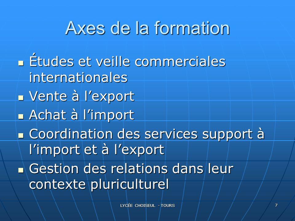 LYCÉE CHOISEUL - TOURS 7 Axes de la formation Études Études et veille commerciales internationales Vente Vente à l'export Achat Achat à l'import Coord