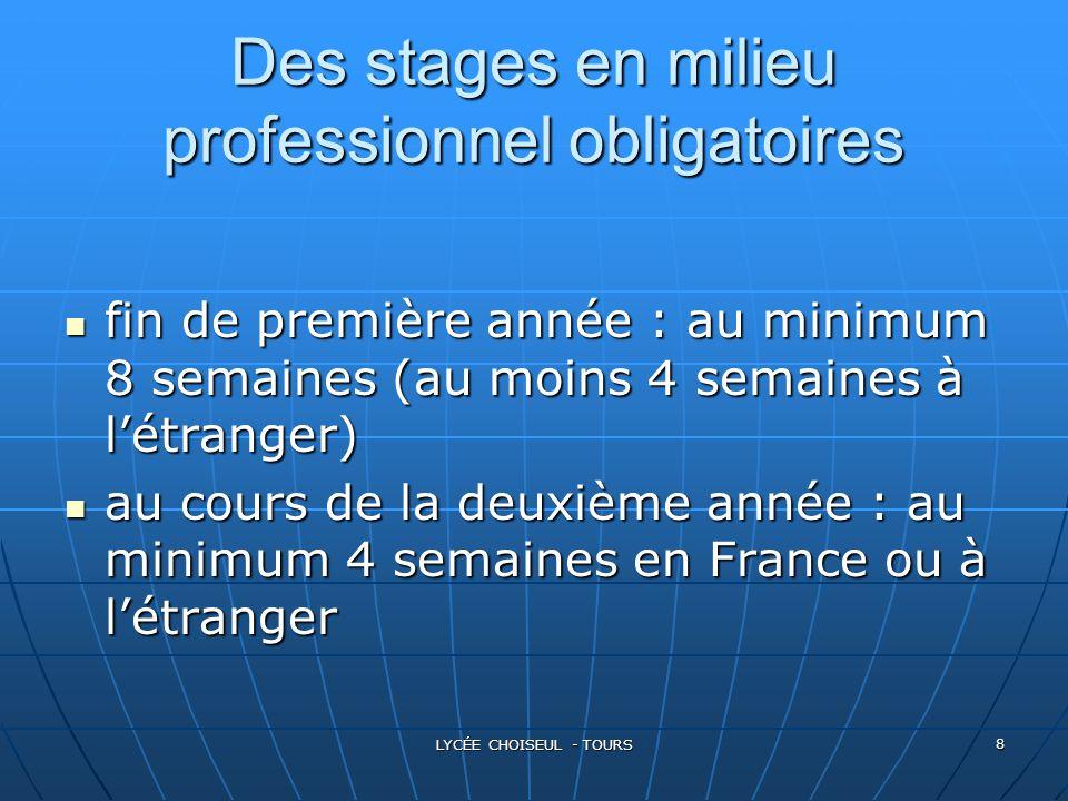 LYCÉE CHOISEUL - TOURS 8 Des stages en milieu professionnel obligatoires fin fin de première année : au minimum 8 semaines (au moins 4 semaines à l'ét