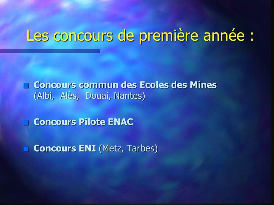 Les concours de première année : n Concours commun des Ecoles des Mines (Albi, Alès, Douai, Nantes) n Concours Pilote ENAC n Concours ENI (Metz, Tarbes)