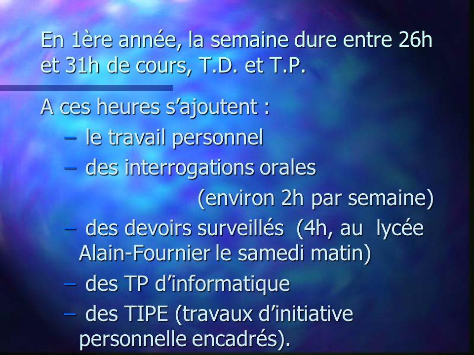 Horaires hebdomadaires de première année * : 2 ème période ; ** : 2 ème période option PC ; *** : 2 ème période option PSI.