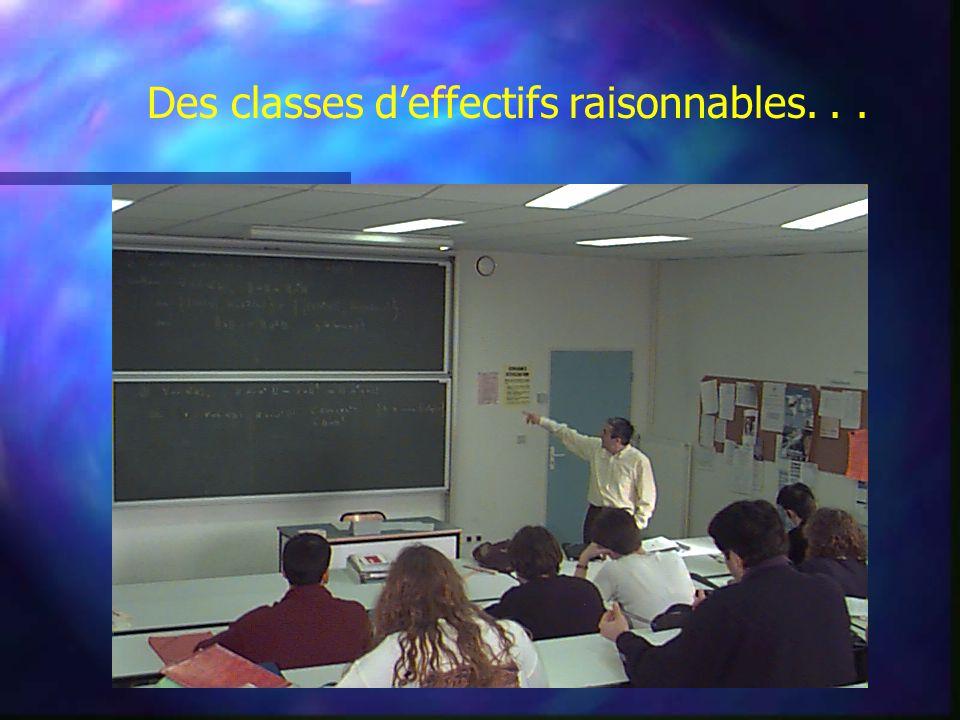 Des classes d'effectifs raisonnables...