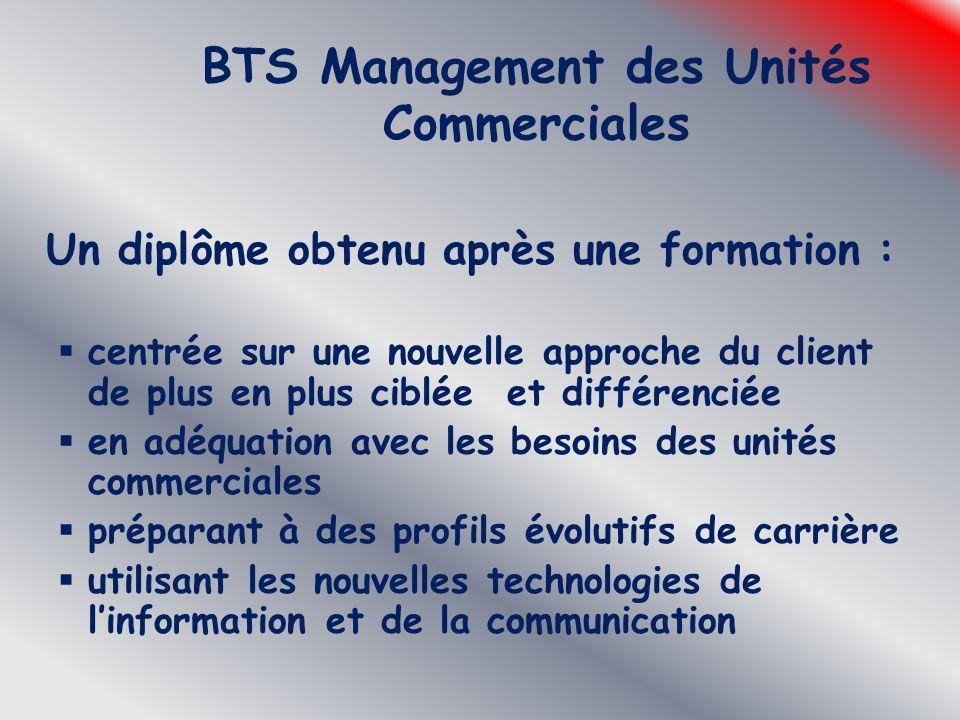 BTS Management des Unités Commerciales Un diplôme obtenu après une formation :  centrée sur une nouvelle approche du client de plus en plus ciblée et