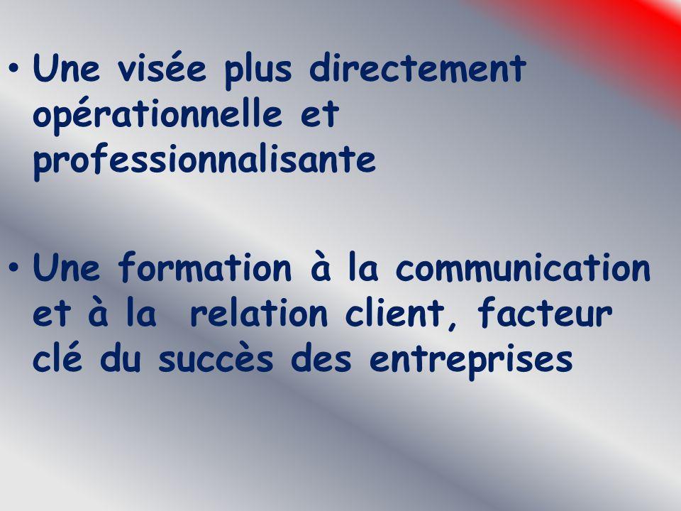 Une visée plus directement opérationnelle et professionnalisante Une formation à la communication et à la relation client, facteur clé du succès des e