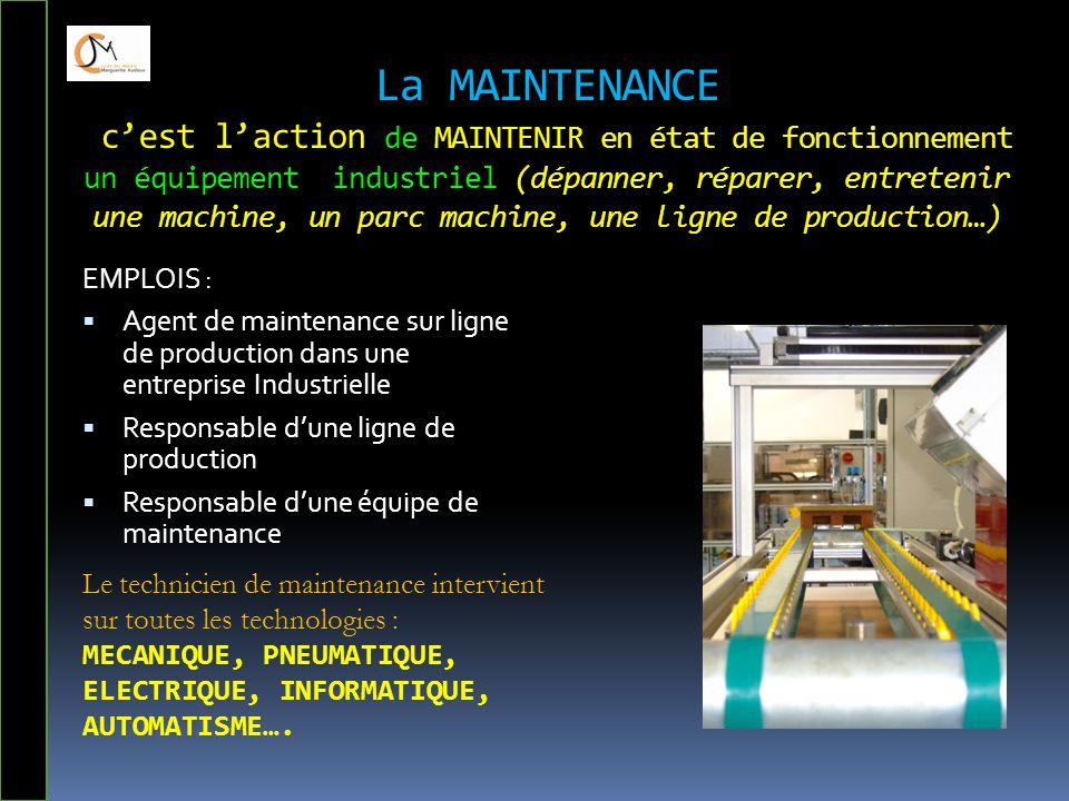 La MAINTENANCE c'est l'action de MAINTENIR en état de fonctionnement un équipement industriel (dépanner, réparer, entretenir une machine, un parc mach