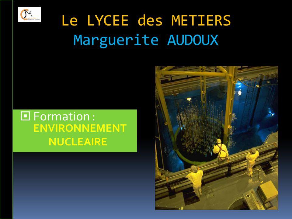 Le LYCEE des METIERS Marguerite AUDOUX  Formation : ENVIRONNEMENT NUCLEAIRE