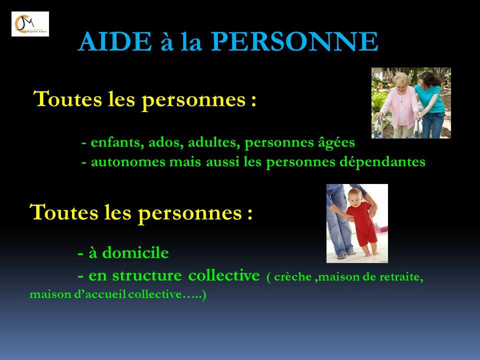 Toutes les personnes : - enfants, ados, adultes, personnes âgées - autonomes mais aussi les personnes dépendantes Toutes les personnes : - à domicile