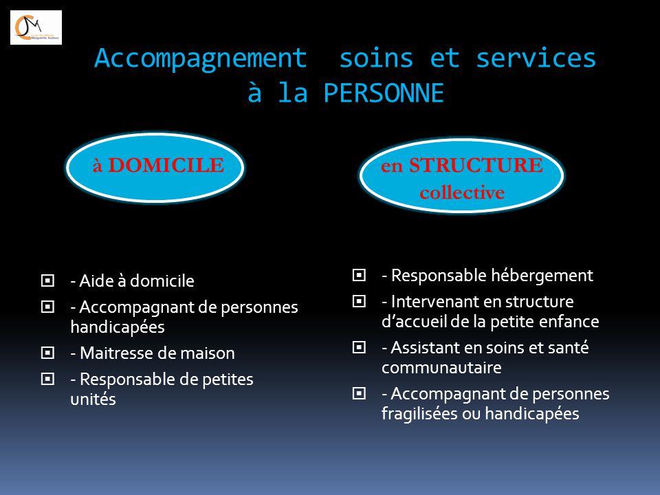 Accompagnement soins et services à la PERSONNE  - Aide à domicile  - Accompagnant de personnes handicapées  - Maitresse de maison  - Responsable d