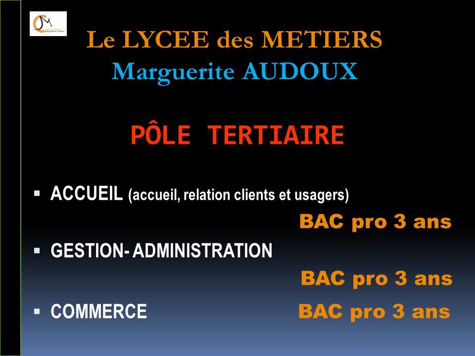 PÔLE TERTIAIRE  ACCUEIL (accueil, relation clients et usagers) BAC pro 3 ans  GESTION- ADMINISTRATION BAC pro 3 ans  COMMERCE BAC pro 3 ans Le LYCE