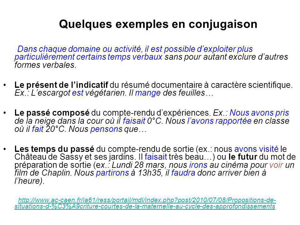 Quelques exemples en conjugaison Dans chaque domaine ou activité, il est possible d'exploiter plus particulièrement certains temps verbaux sans pour a