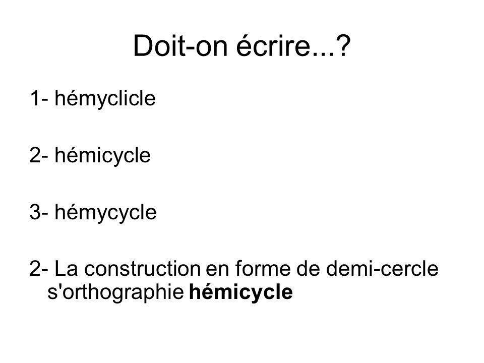 Doit-on écrire...? 1- hémyclicle 2- hémicycle 3- hémycycle 2- La construction en forme de demi-cercle s'orthographie hémicycle
