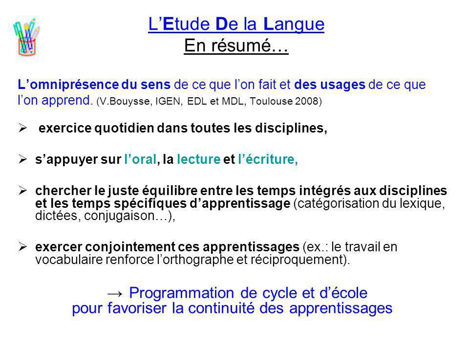 L'Etude De la Langue En résumé… L'omniprésence du sens de ce que l'on fait et des usages de ce que l'on apprend. (V.Bouysse, IGEN, EDL et MDL, Toulous