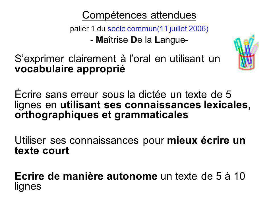 Compétences attendues palier 1 du socle commun(11 juillet 2006) - Maîtrise De la Langue- S'exprimer clairement à l'oral en utilisant un vocabulaire ap