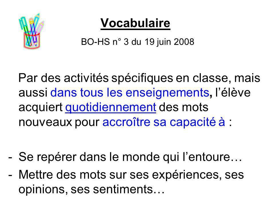 Vocabulaire BO-HS n° 3 du 19 juin 2008 Par des activités spécifiques en classe, mais aussi dans tous les enseignements, l'élève acquiert quotidienneme