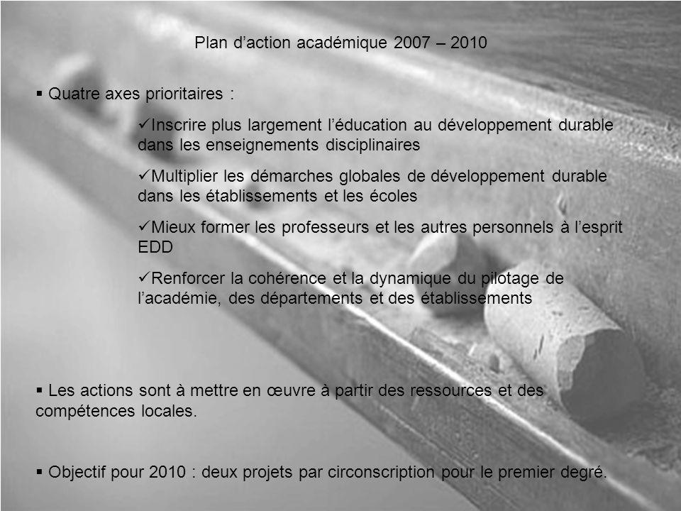Plan d'action académique 2007 – 2010  Quatre axes prioritaires : Inscrire plus largement l'éducation au développement durable dans les enseignements disciplinaires Multiplier les démarches globales de développement durable dans les établissements et les écoles Mieux former les professeurs et les autres personnels à l'esprit EDD Renforcer la cohérence et la dynamique du pilotage de l'académie, des départements et des établissements  Les actions sont à mettre en œuvre à partir des ressources et des compétences locales.