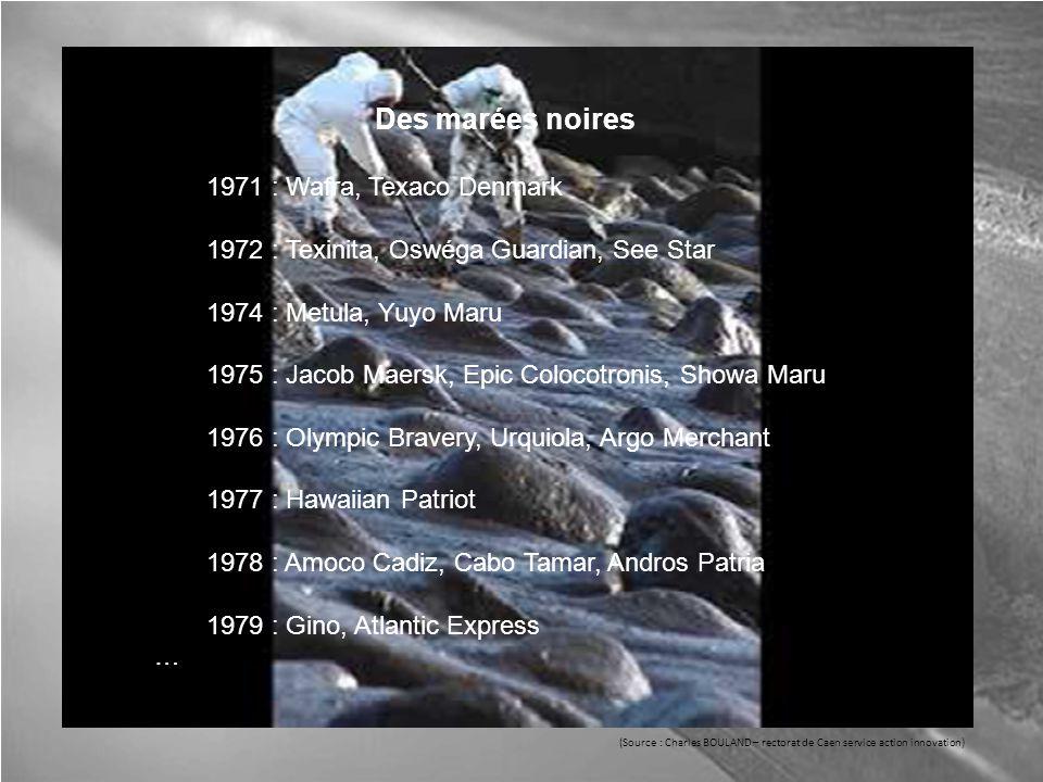 Des marées noires 1971 : Wafra, Texaco Denmark 1972 : Texinita, Oswéga Guardian, See Star 1974 : Metula, Yuyo Maru 1975 : Jacob Maersk, Epic Colocotronis, Showa Maru 1976 : Olympic Bravery, Urquiola, Argo Merchant 1977 : Hawaiian Patriot 1978 : Amoco Cadiz, Cabo Tamar, Andros Patria 1979 : Gino, Atlantic Express … (Source : Charles BOULAND – rectorat de Caen service action innovation)