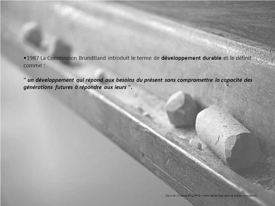 1987 La Commission Brundtland introduit le terme de développement durable et le définit comme : un développement qui répond aux besoins du présent sans compromettre la capacité des générations futures à répondre aux leurs .