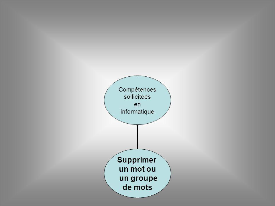 Compétences sollicitées en informatique Supprimer un mot ou un groupe de mots