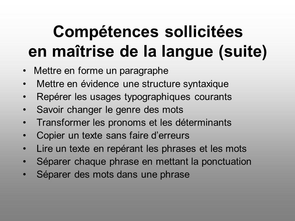 Compétences sollicitées en maîtrise de la langue (suite) Mettre en forme un paragraphe Mettre en évidence une structure syntaxique Repérer les usages