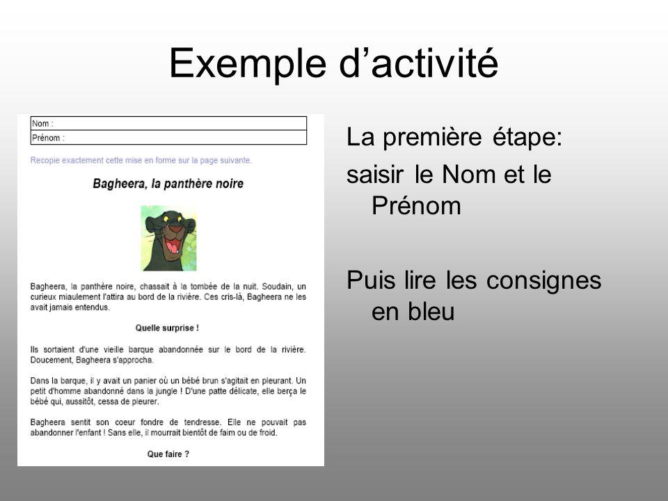 Exemple d'activité La première étape: saisir le Nom et le Prénom Puis lire les consignes en bleu