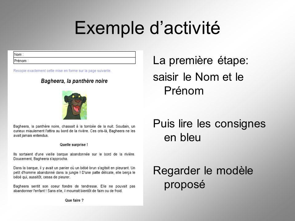 Exemple d'activité La première étape: saisir le Nom et le Prénom Puis lire les consignes en bleu Regarder le modèle proposé
