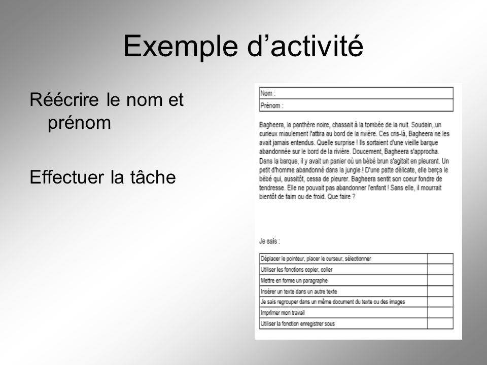 Exemple d'activité Réécrire le nom et prénom Effectuer la tâche