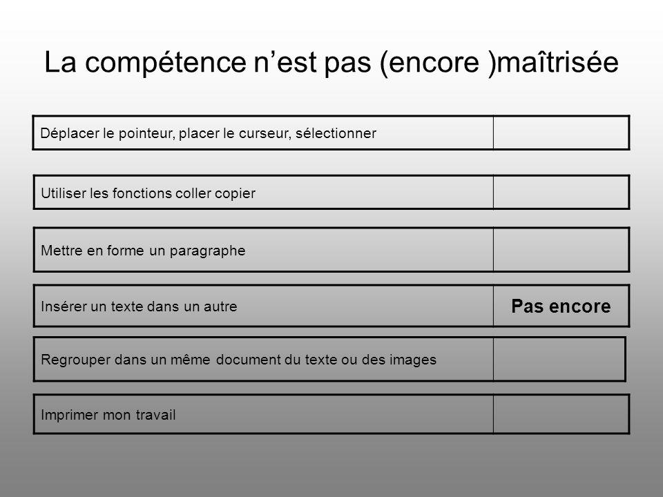 La compétence n'est pas (encore )maîtrisée Déplacer le pointeur, placer le curseur, sélectionner Utiliser les fonctions coller copier Insérer un texte