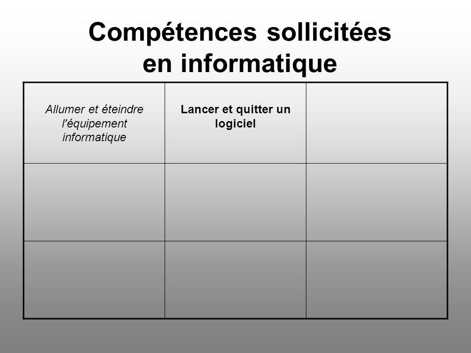 Compétences sollicitées en informatique Supprimer un mot ou un groupe de mots Imprimer un document Regrouper en un même document, textes, images