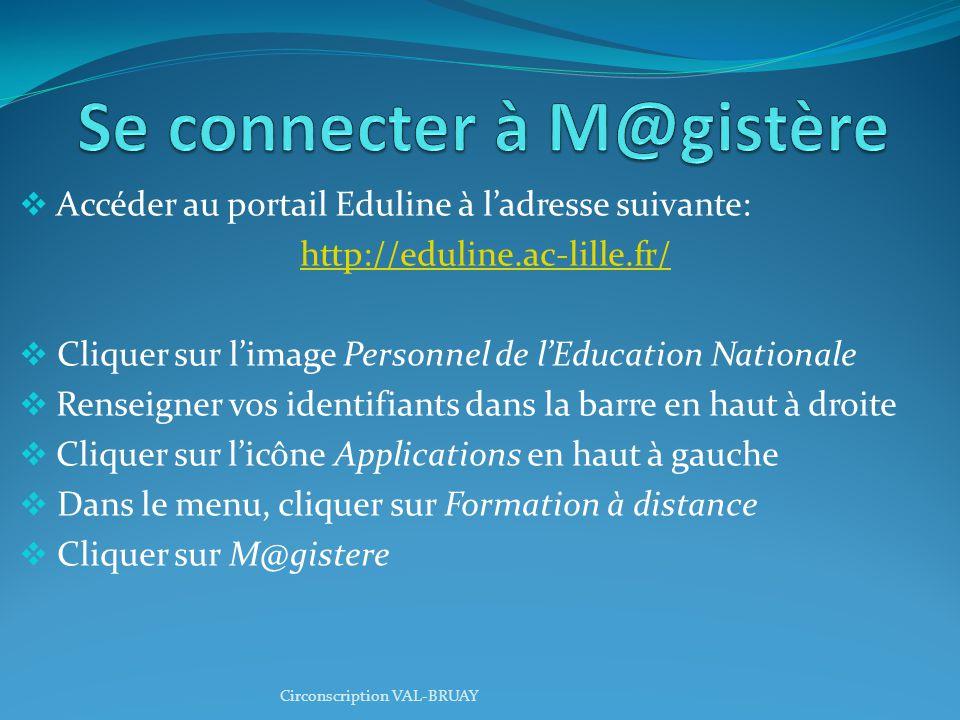  Accéder au portail Eduline à l'adresse suivante: http://eduline.ac-lille.fr/  Cliquer sur l'image Personnel de l'Education Nationale  Renseigner vos identifiants dans la barre en haut à droite  Cliquer sur l'icône Applications en haut à gauche  Dans le menu, cliquer sur Formation à distance  Cliquer sur M@gistere Circonscription VAL-BRUAY