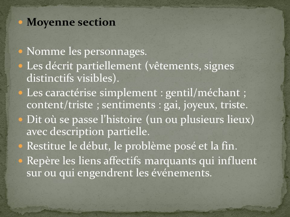 Moyenne section Nomme les personnages.