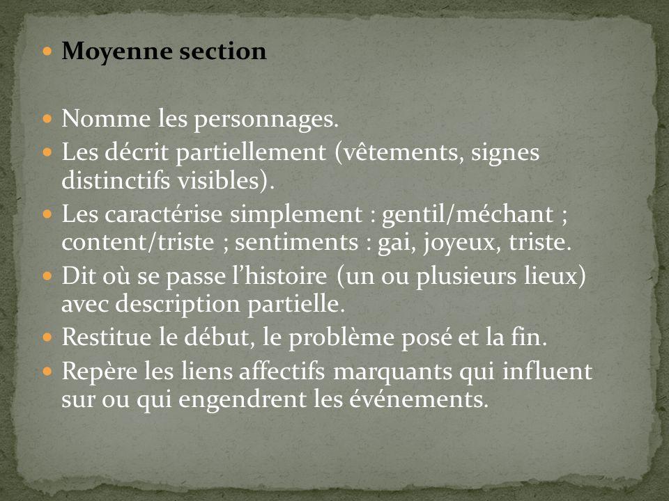 Moyenne section Nomme les personnages. Les décrit partiellement (vêtements, signes distinctifs visibles). Les caractérise simplement : gentil/méchant