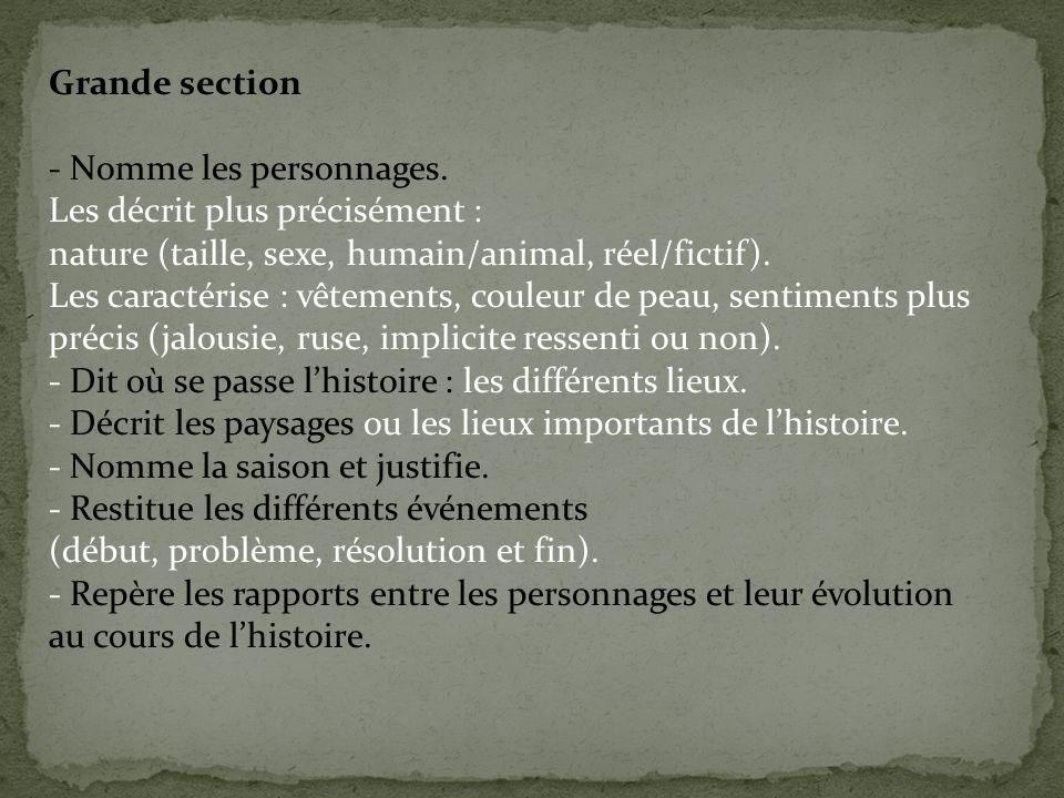 Grande section - Nomme les personnages. Les décrit plus précisément : nature (taille, sexe, humain/animal, réel/fictif). Les caractérise : vêtements,