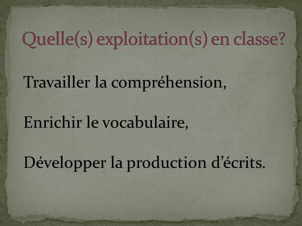 Travailler la compréhension, Enrichir le vocabulaire, Développer la production d'écrits.