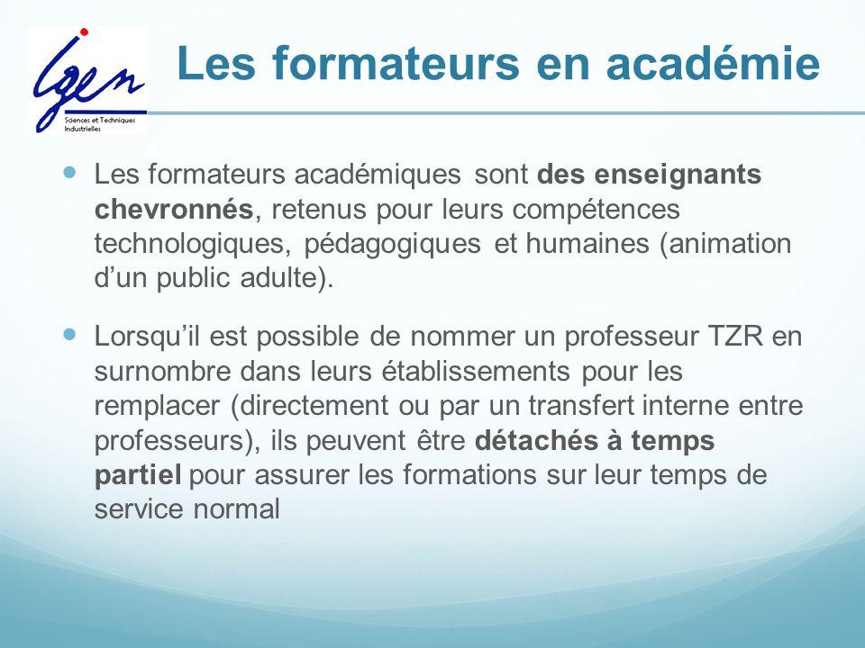 Les formateurs en académie Les formateurs académiques sont des enseignants chevronnés, retenus pour leurs compétences technologiques, pédagogiques et humaines (animation d'un public adulte).