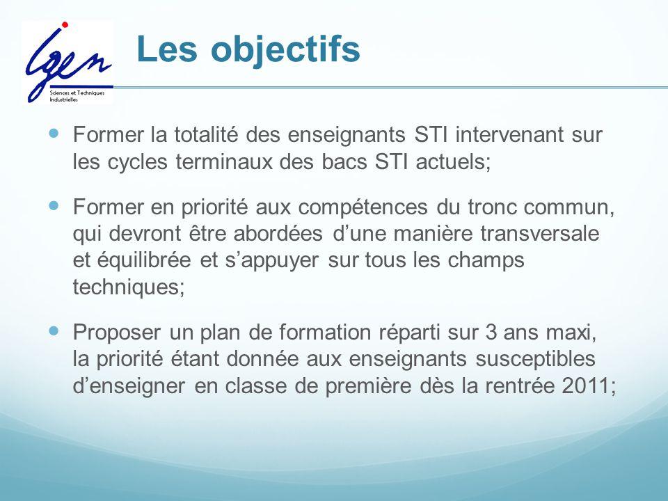 Les objectifs Former la totalité des enseignants STI intervenant sur les cycles terminaux des bacs STI actuels; Former en priorité aux compétences du