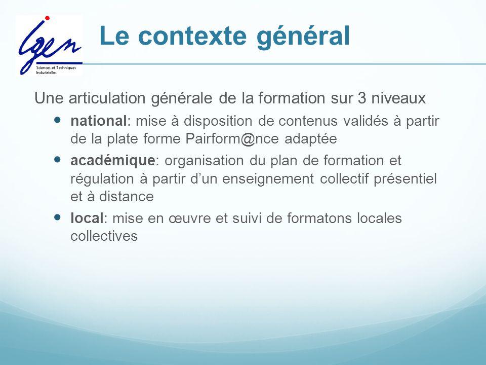 Le contexte général Une articulation générale de la formation sur 3 niveaux national: mise à disposition de contenus validés à partir de la plate form