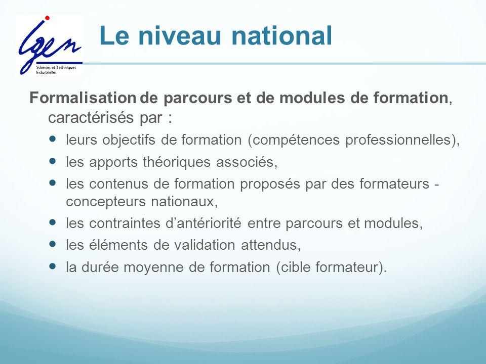 Le niveau national Formalisation de parcours et de modules de formation, caractérisés par : leurs objectifs de formation (compétences professionnelles