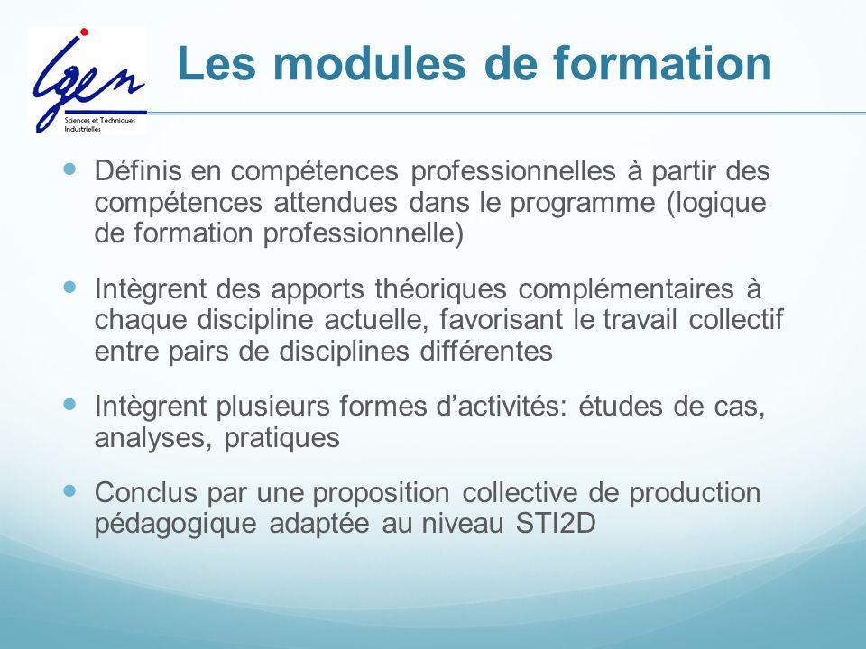 Les modules de formation Définis en compétences professionnelles à partir des compétences attendues dans le programme (logique de formation profession
